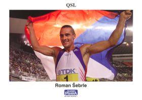 Tarjeta QSL con la foto de Roman Šebrle