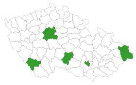 El mapa de las zonas de riesgo de coronavirus, fuente: Archivo del Ministerio de Salud checo