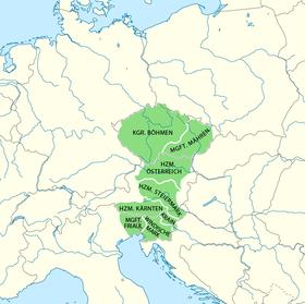 Karte Böhmen unter Přemysl Otakar II. (Quelle: Maximilian Dörrbecker, Wikimedia Commons,CC BY-SA 2.0)
