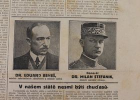 Edvard Beneš et Milan Rastislav Štefánik, photo: Státní oblastní archiv Nymburk se sídlem v Lysé nad Labem