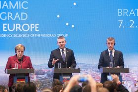 Angela Merkel, Peter Pellegrini, Andrej Babiš, photo: ČTK/Martin Mikula