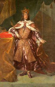 Чешские коронационные регалии и королевская мантия на картине с изображением Карла VI, 1723 г.