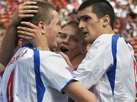 Martin Fenin, Tomas Micola, and Ondrej Mazuch, from right, celebrate Micola's goal during their semi-final match, photo: CTK