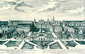 J. A. Delsenbach, Celkový pohled na zámek Lednice, kolem r. 1721