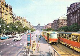 Открытка с изображением пражской Вацлавской площади, 70-е годы