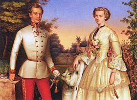 Francisco José I con su esposa