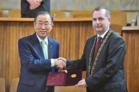 Ban Ki-Moon en la Universidad Carolina de Praga, foto: ČTK