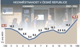 Безработица в Чехии: январь 2003 - январь 2004 (Источник: ЧТК)