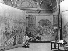 Alfons Mucha with Slav Epic, photo: Wikimedia Commons, CC0