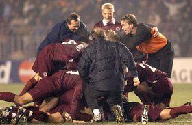 El equipo de fútbol checo, Sparta de Praga, se alegra de la calificación a los octavos de final de la Liga de Campeones, foto: CTK