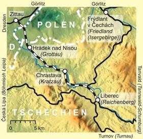 Verlaufskarte der Bahnstrecke Zittau–Liberec (Quelle: Lencer, CC BY-SA 3.0)