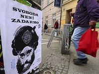 The posters depicting the controversial Danish caricature of the prophet Mohammed in Brno, photo: CTK