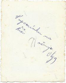 Zadní strana dobové fotografie zroku 1944 svěnování «V upomínku na Říši ...»; foto: Archiv Barbory Němcové