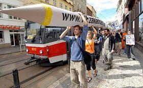Protestní pochod odpůrců americké základny, foto: ČTK