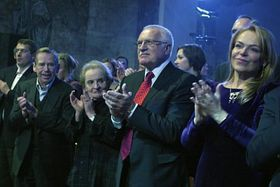 Václav Havel, Madeleine Albright, Václav Klaus, Dagmar Havlová, photo: CTK