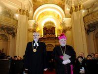 Chairman of Ecumenical Church Council Joel Ruml, Dominik Duka (right), photo: CTK