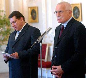 Jiri Paroubek and Vaclav Klaus, photo: CTK