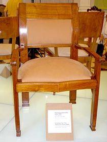 The Plecnik chair that survived remodeling at Prague Castle, photo: Linda Mastalir