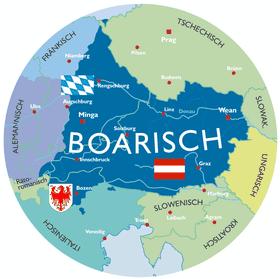 Karte des bairischen Sprachraums / Koatn vom Boarischn Sprochraum (Foto: Prjaeger, Wikimedia Commons, CC BY 2.0 DE)