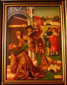 Zavraždění sv. Václava, obraz ze zničeného renesančního oltáře vkapli sv. Václava vpražské katedrále, Mistr IW apomocník (1543)