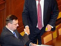 Premier Mirek Topolánek (vpravo) s Petrem Nečasem, foto: ČTK