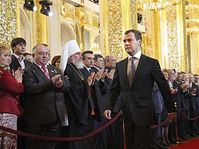Dmitry Medvedev, centre, looks on, during an inauguration ceremony in Moscow's Kremlin on Wednesday, May 7, photo: CTK