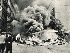 Czech Radio building bombed by Russians in 1968