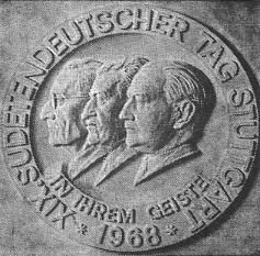 Plakette zum Sudetendeutschen Tag in 1968, Jaksch in der Mitte