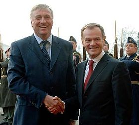Mirek Topolanek and Donald Tusk, photo: CTK