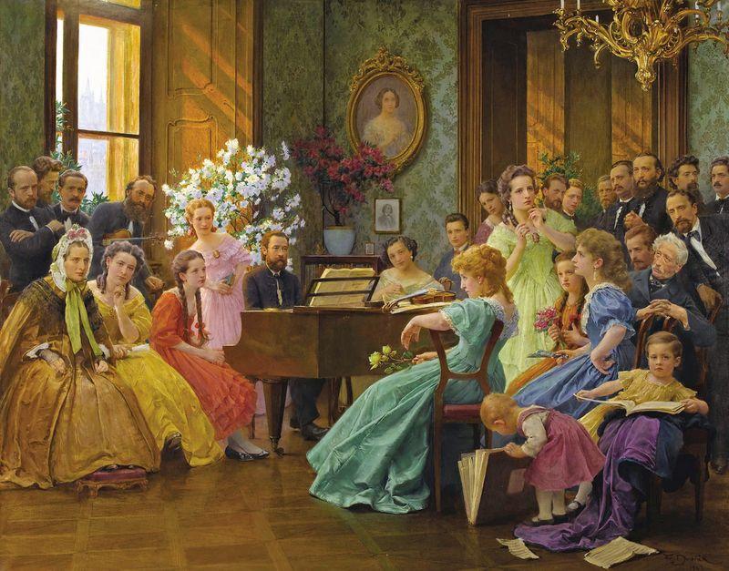 Bedřich Smetana apřátelé (obraz zroku 1865 Františka Dvořáka)