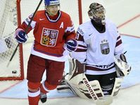 Czech Republic - Latvia. Patrik Eliáš, Edgars Masalskis, photo: CTK