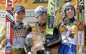 Zleva: Janne Ahonen, Jakub Janda aAndreas Küttel, foto: ČTK