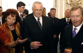 Livia Klausova, Vaclav Klaus and Vaclav Havel, Photo: CTK