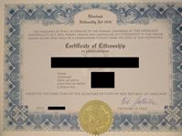 Liberland Citizenship Certificate, photo: Terrorist96, CC BY-SA 4.0