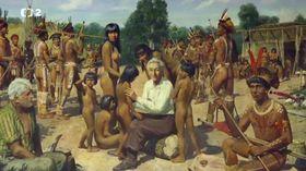 Vladimír Kozák y Karla Kozáková rodeados de indios, la pintura de Zdeněk Burian, foto: ČT