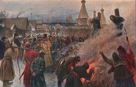 Verbrennung auf dem Scheiterhaufen - upálení na hranici (Quelle: Wikimedia Commons, CC0)
