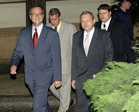 Předseda KDU-ČSL Miroslav Kalousek (vlevo) aprvní místopředseda strany Jan Kasal, foto: ČTK