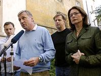 Předseda ODS Mirek Topolánek (druhý zleva) a místopředsedové Petr Nečas (vlevo), Petr Bendl a Miroslava Němcová, foto: ČTK