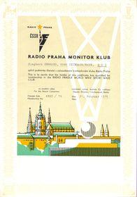 Свидетельство «Клуба мониторов Радио Прага»