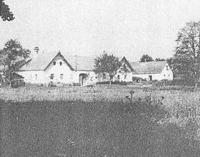 Geburtshaus Jakschs (ganz rechts) in Dlouhá Stropnice / Langstrobnitz