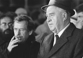 Vaclav Havel and Ladislav Adamec on November 26th 1989, photo: CTK