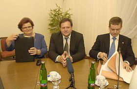 Marie Benesova and Justice Minister Pavel Nemec (on the right), photo: CTK