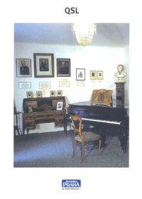 Tarjeta QSL - Josef Suk (1874-1935), compositor, interior del casa de Suk en la aldea de Krecovice, foto: Museo de la Música Checa