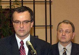 Líder del democristiano Partido Popular (KDU-CSL), Miroslav Kalousek y el vicepresidente de KDU-CSL, Jan Kasal (Foto: CTK)
