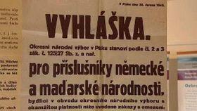 Постановление о введении ограничительных мер против этнических немцев и венгров в г. Писек, Фото: ЧТ