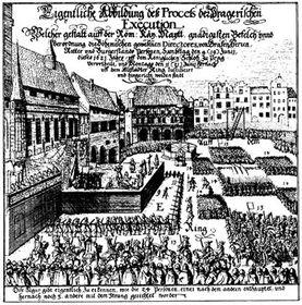 Junto con otros 26 nobles checos, Jesenius fue ejecutado en la Plaza de la Ciudad Vieja de Praga el 21 de junio de 1621, foto: public domain