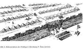 Kresba předpokládané podoby typického římského tábora, zdroj: P. Šima-Juríček in ANODOS-Supplementum 1, Trnava 2001