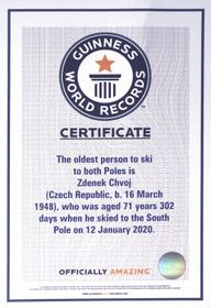 The certificate confirming that Zdeněk Chvoj is the oldest person in the world to reach both Poles, photo: Archive of Zdeněk Chvoj