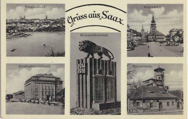 Историческая открытка с изображением г. Жатец