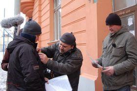 Martin Finger aJaromír Dulava při natáčení hry Poslanecký průkaz, foto: Kateřina Rathouská / Český rozhlas